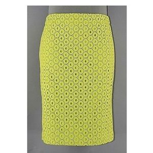J. Crew number 2 pencil skirt in lime eyelet
